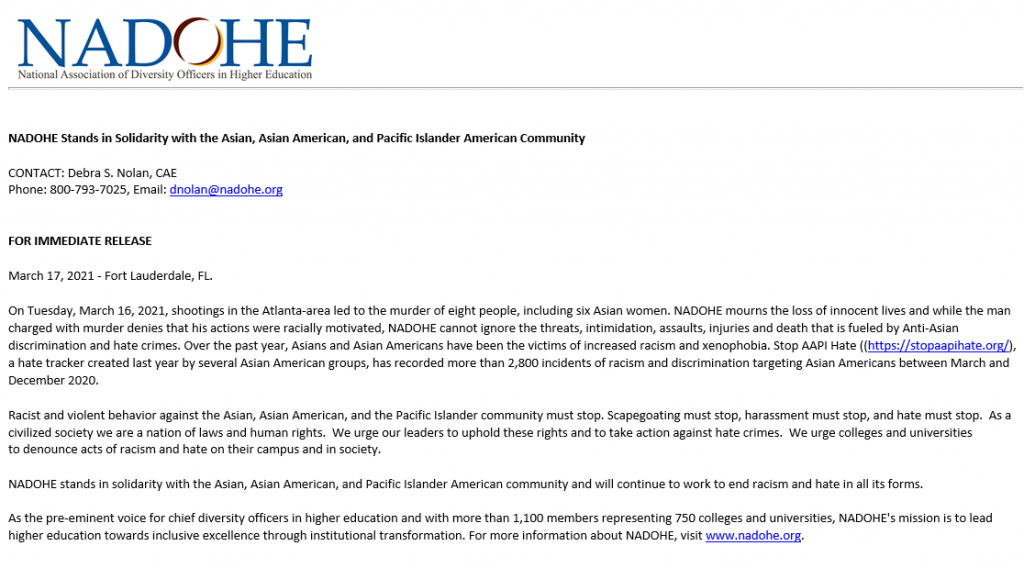 NADOHE Stands in Solidarity with the Asian, Asian American, and Pacific Islander American Community
