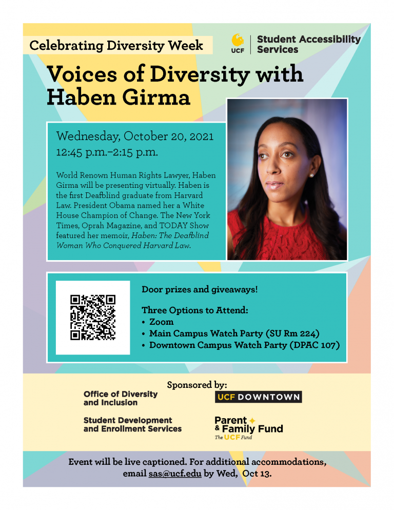 Voices of Diversity with Haben Girma Event Flyer